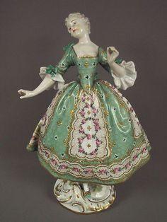 sevres french porcelain lady dresden figurine | Gorgeous Antique Sevres French Porcelain Lady Dresden Figurine | eBay