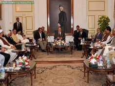 KARACHI - Sept 3, 2013: Prime Minister Nawaz Sharif meeting political leaders to discuss the situation of law and order in Karachi.
