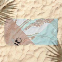 Mint and Cocoa Marble #society6 #buyart #decor Beach Towel