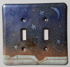andmade one-of-a-kind enameled copper light switch cover. This medium of fusing glass to metal with high heat creates beautiful transparency. Fused glass balls create a slight texture to the glass surface, Dimension: 5 x 5.25. Enameled on both sides to UL specifications. Decorate your wall with fine art