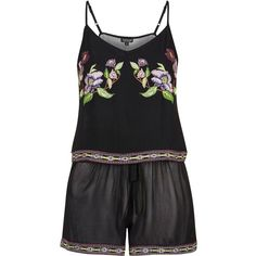 TopShop Floral Embroidered Pyjama Set (825 ZAR) ❤ liked on Polyvore featuring intimates, sleepwear, pajamas, lingerie, black and topshop