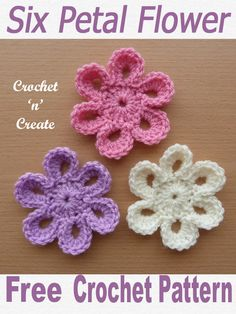 Crochet Petal Flower UK - I don't think you can have enough flowers appliques for decoration, this one is so sweet and easy to make. You can crochet it up in approx 10 minutes and use on most items such as pillows, cushions, bags, cowls etc. Crochet Butterfly Free Pattern, Crochet Baby Hat Patterns, Crochet Flower Tutorial, Crochet Motif, Crochet Yarn, Knitting Patterns, Easy Crochet Flower, Crochet Baby Beanie, Crocheted Flowers