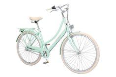 lekker jordaan style bike in pastel green on white background
