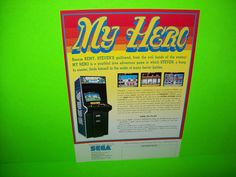 MY HERO By SEGA 1985 ORIGINAL NOS RARE VIDEO ARCADE GAME PROMO SALES FLYER #videogameflyer #videogame #arcadeflyer #arcadegame #segamyhero