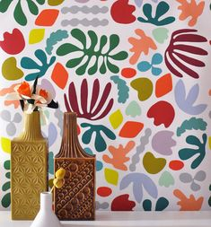 Make a Matisse-style paper cut mural; group work, abstract art Removable Wallpaper // Matisse is my muse // Adheres to walls and shelves and is removable