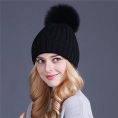 04b32fb9a1b Xthree mink and fox fur ball cap pom poms winter hat for women girl  s hat  knitted beanies cap brand new thick female cap
