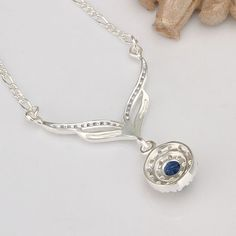 2016 new arrived 925 sterling silver jewelry leafage link round blue stone crystal pendant necklace for women girls promotion