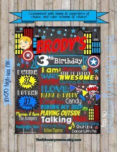 Superhero Birthday Chalkboard Milestone Board by TheFebruaryMama