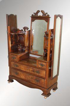 Antique Most Unusual Burl Walnut Dressing Triple Mirror Chest   c.1890's