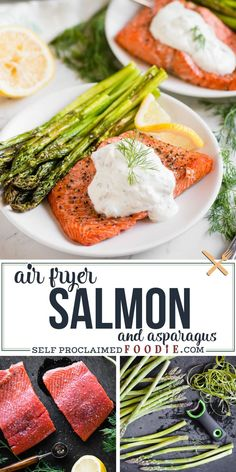 Air Fryer Salmon and Asparagus with a Lemon Dill Sauce is the most quick, easy, satisfying, delicious, and healthy dinner you can make! Not often can you make a complete meal in less than 30 minutes that not only tastes amazing, but it's good for you! #salmon #airfryer #asparagus #sauce #lemon #dill #dinner #recipe Best Asparagus Recipe, Grilled Asparagus Recipes, Salmon And Asparagus, How To Cook Asparagus, Baked Asparagus, Lemon Recipes Easy, Quick Salmon Recipes, Summer Recipes, Eating Clean