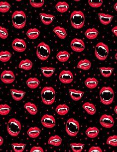 Halloween Pattern With Red Vampire Lips Photography Backdrop - Halloween Wallpaper Wallpaper Kawaii, Lip Wallpaper, Fall Wallpaper, Pattern Wallpaper, Halloween Wallpaper Iphone, Halloween Backgrounds, Cool Backgrounds, Wallpaper Backgrounds, Wallpaper Ideas