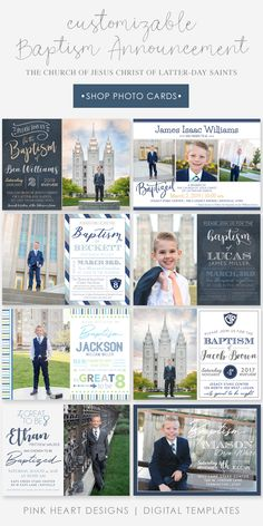 The Church of Jesus Christ of Latter-Day Saints Baptism Announcement Template - LDS Baptism Announcement - Boy Baptism Announcement - Boy Baptism Invitation Lds Baptism Program, Baptism Invitation For Boys, Baptism Invitations, Baptism Announcement, Birth Announcement Template, Baptism Pictures, Baptism Photography, Spiritual Church, Baby Boy Baptism