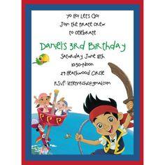 Image Detail for - Neverland Pirates birthday invitation, Jake and the Neverland Pirates ...