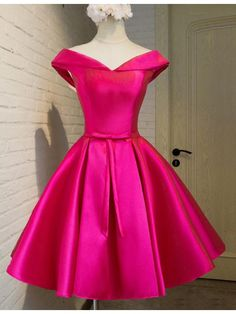 Trendy Off Shoulder Lapel Cap Sleeves Short Pink Homecoming Dress with Bow Lace-up Fancy Dress Short, Short Dresses, Formal Dresses, Prom Dresses, Summer Fashion Outfits, Fashion Dresses, Dresses For Teens, Girls Dresses, Junior Homecoming Dresses