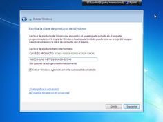 Instalar Windows 7: Escribe la clave de producto de Windows 7
