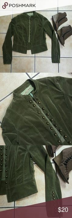 Miss Me Jacket! Super cute green Miss Me jacket. Bronze buttons along the front and along arms. A light corduroy material. Preowned, but in amazing condition. Miss Me Jackets & Coats