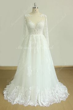 Romantic a line french lace wedding dress with by MermaidBridal