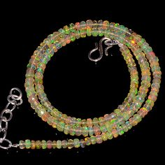 """37CRTS 3.5to4MM 18"""" ETHIOPIAN OPAL FACETED RONDELLE BEADS NECKLACE OBI1714 #OPALBEADSINDIA"""