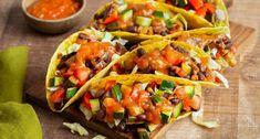 Vegetarische Taco's   Knorr Tortillas, Good Food, Veggies, Wraps, Mexican, Ethnic Recipes, Vegetarian Tacos, Mince Pies, Vegetable Recipes