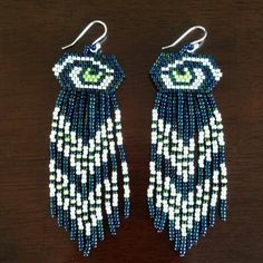 Seahawks!!! Native American style seed bead fringe earring :: Pattern by Chris Duenas, beaded by Sydney Duenas.