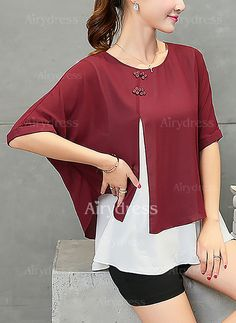 Color Block Casual Polyester Round Neckline Half Sleeve Blouses Source by Blouse Styles, Blouse Designs, Diy Dress, Ladies Dress Design, Half Sleeves, Shirt Blouses, Blouses For Women, Ideias Fashion, Fashion Dresses