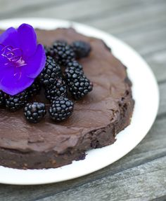 raw vegan chocolate and blackberry cake.