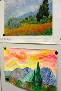 Van Gogh Landscapes - this website has tons of beautiful lessons inspired by famous artists - how to color the shrinky dinks\