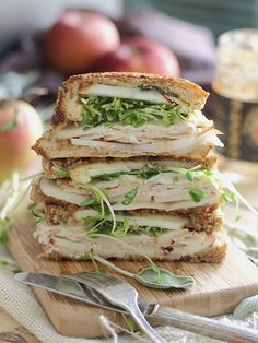 Turkey cheddar apple butter panini. Lots of fall goodness in a melty sandwich!