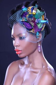 Created by Ankcara...For Nigerian brides and bridesmaids, add more flair to your wedding with this gorgeous Ankara headpiece with a veil. No more plain looking hair accessories!   Buy here: http://shop.ankcara.com/items/head-accessory