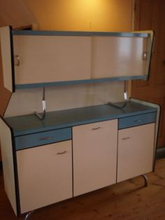 Retro ,60s, Blue and white, Formica, Kitchen, Cupboard Unit, French