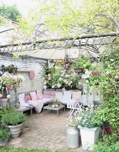 Oh sweet! Shabby set up to enjoy the garden! #Parties #showers #weddings #graduation #backyard #garden #summer - Ideas and where to get them! Enjoy shabby chic 'd up spaces!