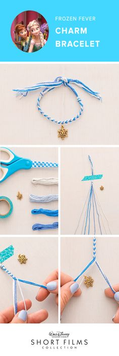 Stay in with your family tonight and make these fun charm bracelets inspired by the Walt Disney Animation Studios Short, Frozen Fever. Available with 11 other Shorts today! Divide your strands into two even piles. Take the outside strand from the right side and move it into the inside of the left side. Repeat by taking the outside strand from the left side and moving it into the inside of the right side. Follow this pattern till you have created a decent length for your bracelet.