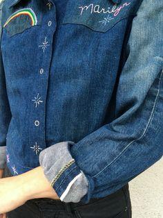 Selvedge denim handmade jacket with embroidery