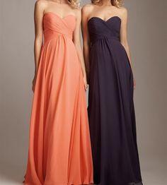 Chiffon Long Bridesmaid Dress Orange Women Dress by deboy2000, $99.00