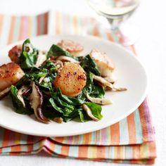 Pan-Seared Scallops with Spinach-Mushroom Saute   MyRecipes