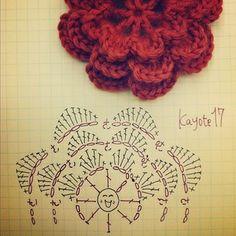 Crochet flor 3 capas