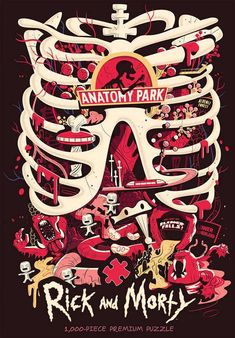 "Morty is trapped in a dead man. This poster from Rick And Morty has an image inspired by the ""Anatomy Park"" episode. Anatomy Park, We All Mad Here, Ricky Y Morty, Rick And Morty Poster, Cartoon Wallpaper, Smile Wallpaper, Animation Series, Illustration, Nerd"