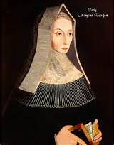 Margaret Beaufort,Countess of Richmond & Derby 31 May 1443-29 June 1509.Daughter of John Beaufort,Duke of Somerset (1404-1444) & Margaret de Beauchamp (1410-1482).Married firstly John de la Pole (1442-1492) on 7 February 1450 at age 6.Marriage annulled in February 1453.Married secondly Edmund Tudor,Duke of Richmond (1430-1456) on 23 November 1452.Issues:Henry (1457-1509).Married thirdly Sir Henry Stafford (c1425-1471) on 3 January 1458.Married fourthly Thomas Stanley,Earl of Derby…
