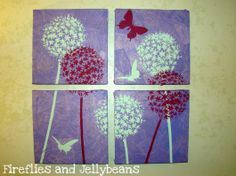 Stenciled wall art using the Allium Gladiator Flower Stencil. http://www.cuttingedgestencils.com/flower-stencil-wall.html