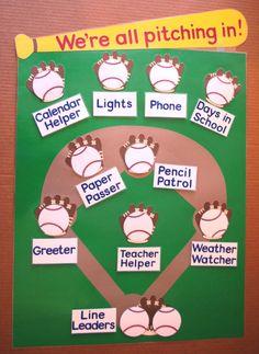 School Classroom Job or Task Chart Baseball by RoomsAndBoards