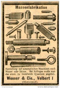 Original-Werbung/ Anzeige 1903 - SCHRAUBEN / STIFTE / MASSENFABRIKATION- WESSER & CIE. VELBERT - ca. 45 x 70 mm