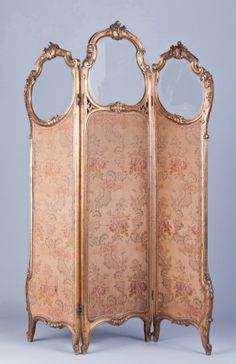 Very fine late c. French Louis XV style three panel giltwood dressing room divider with original clear beveled g. Sold for on Sep 2011 Victorian Room Divider, Victorian Rooms, Victorian Decor, Vintage Bedrooms, Room Divider Screen, Room Screen, Room Dividers, Dressing Screen, Dressing Room