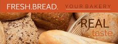 selection of breads photo with orange banner box to put text on bakery business cards Bakery Business Cards, Sweet Potato, Breads, Banner, Orange, Vegetables, Box, Bread Rolls, Banner Stands