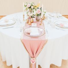 Pink and gold wedding table styling