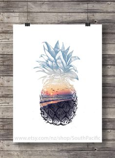 Pineapple sunset, Printable art, sunset beach, art print, Pineapple Sunsrise, Aloha tropical island, Printable wall art, Hawaii beach sunset