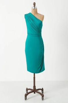 Anthropologie - Teal one shoulder dress