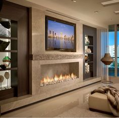 Beautiful room with a linear fireplace. Contemporary Residence Boca Raton, Florida - contemporary - Living Room - Miami - Interiors by Steven G Living Room Designs, Living Room Decor, Living Rooms, Fireplace Design, Tv Fireplace, Linear Fireplace, Bedroom With Fireplace, Granite Fireplace, Wall Mounted Fireplace