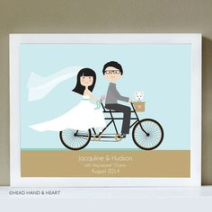 Bicycle Built for Two Custom Portrait, Just Married, Wedding Portrait with pet, Tandem Bike by Head Hand & Heart