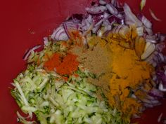 Several courgettes 1 red onion, halved and finely sliced 1 chilli, deseeded and finely chopped Large pinch salt 2 tsp curry powder (or you can make your own mix of the usual suspects: cumin, corian…