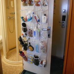 We did this on our cruise last week. Best cruise idea ever. Pack it in your luggage, when you get to your cabin, just hang on the bathroom door. We used it for anything that would fit in it! My husband thought I was a genius. Packing List For Cruise, Cruise Tips, Cruise Travel, Cruise Vacation, Vacation Trips, Honeymoon Cruises, Vacations, Packing Tips, Cruise Ship Reviews